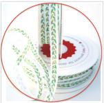 """bedrucktes Band """"Blättergirlande"""" grün acufactum 1 cm breit"""