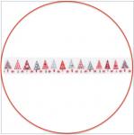 bedrucktes Band Weihnachtsbäume weiß-grau-rot acufactum 1,5 cm breit