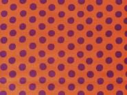 Patchworkstoff, Kaffe Fassett Classics, Spot, violett-lila Punkte auf orangefarbenem Hintergrund