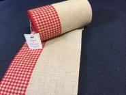 Stickleinenband, Natur, 17 cm breit, (davon ca. 6,5 cm rot-kariert) 11- fädig, Vaupel & Heilenbeck