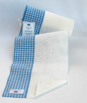 Leinenband 17 cm, 11-fädig, Rand kariert, Farbe 900212, gebleicht - hellblau, Vaupel & Heilenbeck