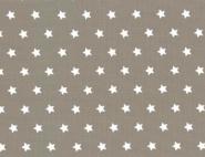 Westfalenstoffe, weiße Sterne auf taupe/braun, 010506234 - Capri