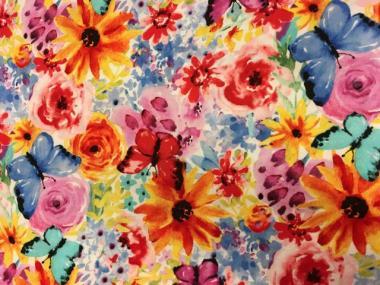 Patchworkstoff, Garden Party Collection, Aquarell Blumen, Watercolor, michael miller