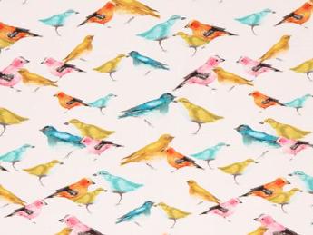 Niedliche bunte Vögel auf hellem Hintergrund