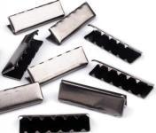 5 Metall-Endstücke für Gürtel 40mm Nickel schwarz
