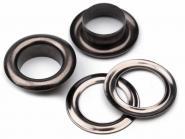 10 Nieten mit Scheiben Innendurchmesser 10mm Schwarz-Nickel gl�nzend