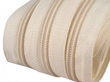 5m Endlos-Reißverschluss creme / beige 5mm incl. 10 Zipper