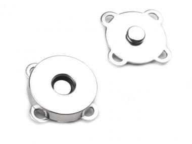 10x Magnete zum Annähen / Aufnähen Nickel glänzend 18mm Durchmesser