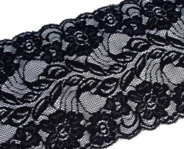 Spitze elastisch Breite 150mm Schwarz