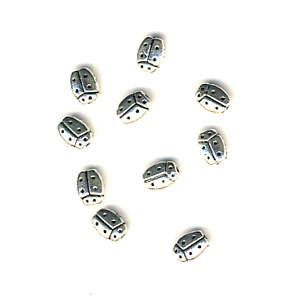 Marienkäfer Perlen silbrig glänzend -10 Stück