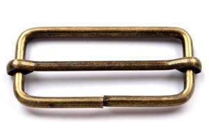 4 Stück Schiebeschnalle oval 38mm Altmessing matt