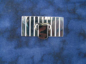 Taschenverschluss Nickel glänzend mit Lasche