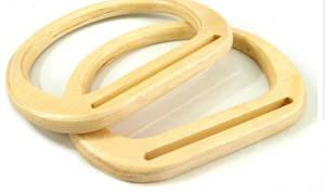 Taschengriff aus Holz Beige 13,5 x 17cm