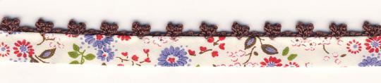 Schrägband mit Häkelborte Braun