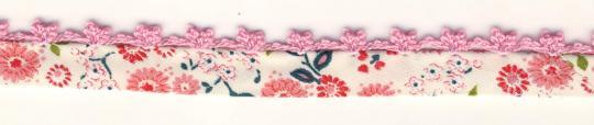 Schrägband mit Häkelborte Rosa