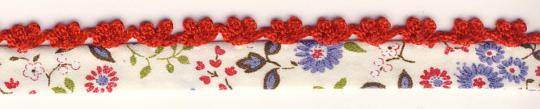 Schrägband mit Häkelborte Rot