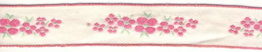 5m Borte gewebt Rosa Blüten 2,0cm breit - 5 Meter