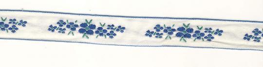 Borte gewebt blaue Blüten 2,0cm breit - 5 Meter