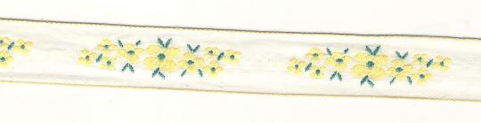 Borte gewebt gelbe Blüten 2,0cm breit - 5 Meter