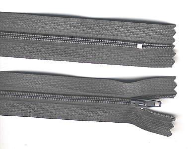 Reißverschluss grau, 3mm, 12cm