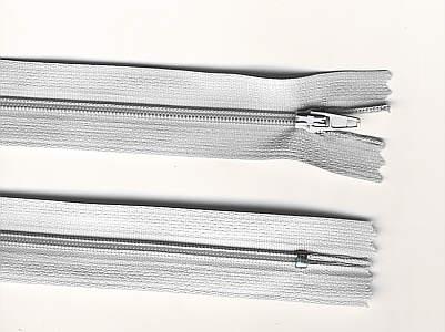 Reißverschluss hell-grau, 3mm, 25cm