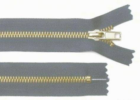 Reißverschluss hell-grau Messing 6mm 14cm