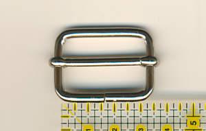 Schiebeschnalle / Verstellschnalle oval 30mm Nickel glänzend