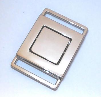 Taschenverschluss 2-teilig Nickel glänzend für Gurte 2,5 cm