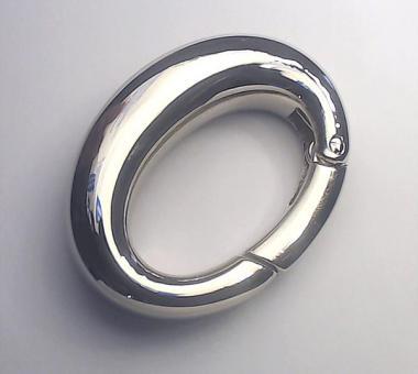 Karabiner oval 38mm Nickel glänzend
