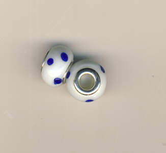 Glasperle Beads weiss blaue Punkte Pandora Style