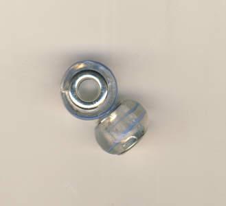 Glasperlen Beads mit hell-blauem Streifen Perle