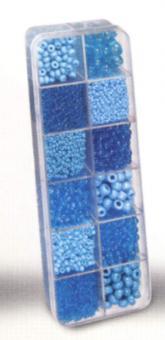 Rocailles-Set 12-fach sortiert blau