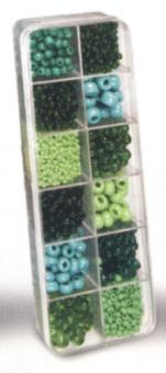 Rocailles-Set 12-fach sortiert grün