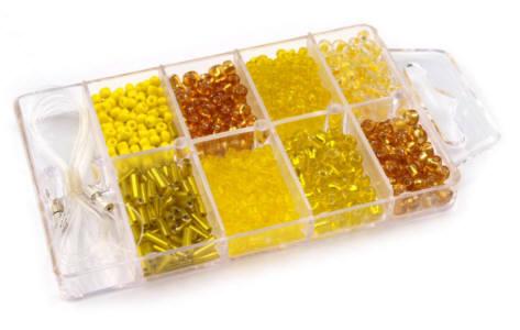 Glasperlen Rocailles Box gelb/orange-Mix