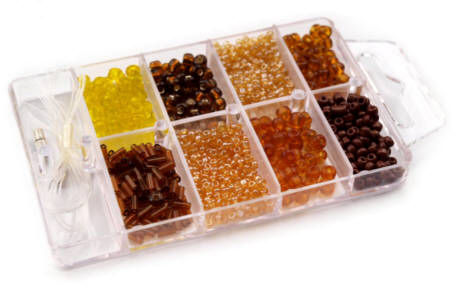 Glasperlen Rocailles Box braun/gelb-Mix