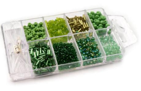 Glasperlen Rocailles Box grün-Mix