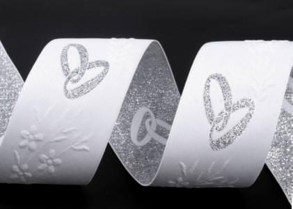 Borte 40mm weiss Hochzeitsmotiv Eheringe silber
