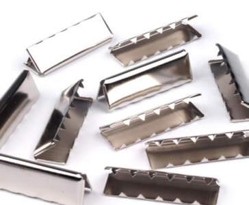 5 Metall-Endstücke für Gürtel 40mm Nickel glänzend