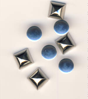 4 Stück Metallnieten 8 mm Nickel glänzend