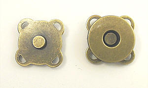Magnete zum Annähen / Aufnähen Altmessing 14mm Durchmesser