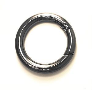Karabiner rund 30mm Nickel schwarz glänzend