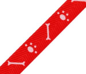 Köperband - rot mit Hundepfötchen Breite 18mm