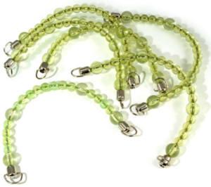 2 Stück Taschengriffe mit Metallendstücken grün
