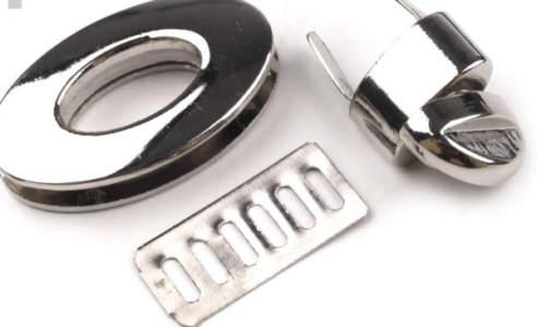 Taschenverschluss 23x37 mm drehbar Nickel glänzend
