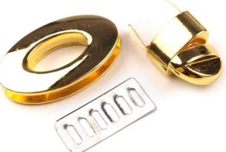 Taschenverschluss 23x37 mm drehbar Gold glänzend
