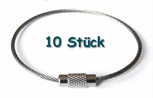 10 Schlüsselringe Edelstahlseil Durchmesser 5cm groß Silber glänzend