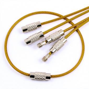 5 Schlüsselringe Edelstahlseil Durchmesser 5cm Gold glänzend