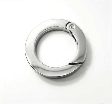 Karabiner rund Querschnitt rechteckig 25 mm / 2,5 cm Nickel / Silber glänzend
