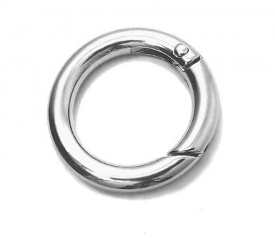 Karabiner rund 25 mm / 2,5 cm Nickel / Silber glänzend