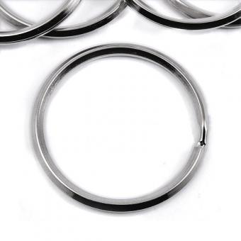 5 Schlüsselringe 32 mm innen Nickel / Silber glänzend quadratisches Profil